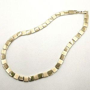 Monet Brushed & Polished Gold Tone Link Necklace